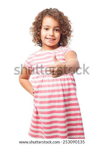 black girl okay sign - stock photo