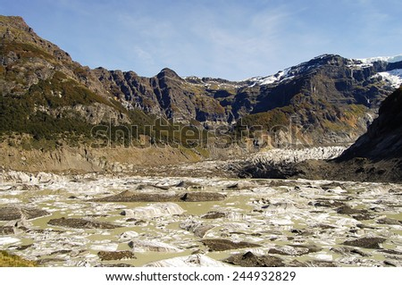Black Glacier of Mount Tronador - Bariloche - Argentina - stock photo