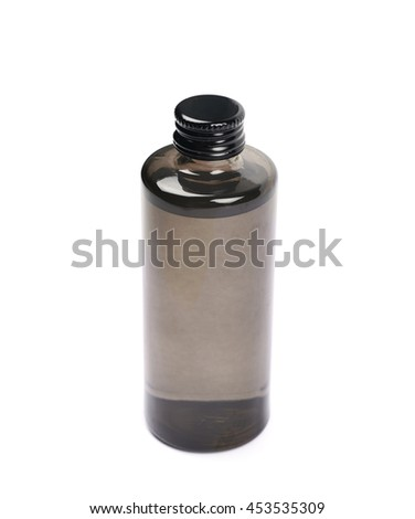 Black glass bottle vial isolated over the white background - stock photo
