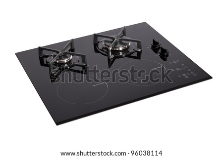 Black glass electric-gas hob isolated on white with clipping path - stock photo