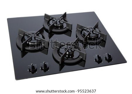 Black glass gas hob isolated on white with clipping path - stock photo