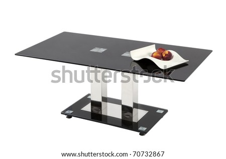 Black glass top coffee table - isolated - stock photo