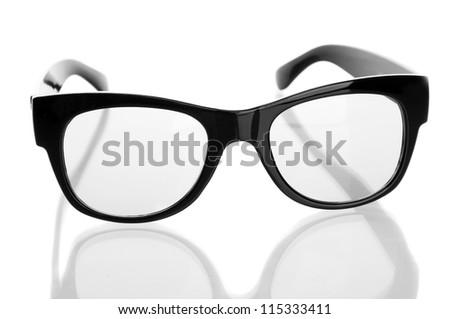 black glasses, isolated on white - stock photo