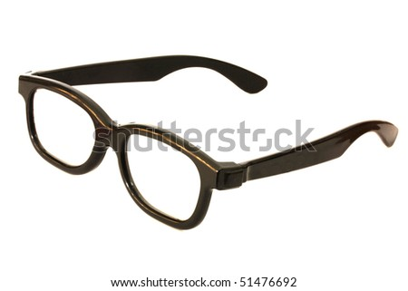 Black glasses isolated on white - stock photo