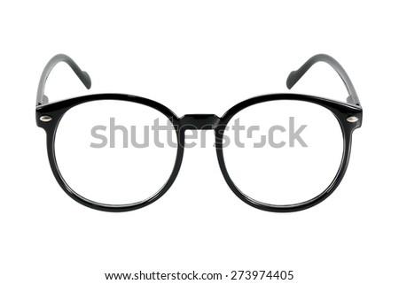 black glasses, isolated on white background - stock photo