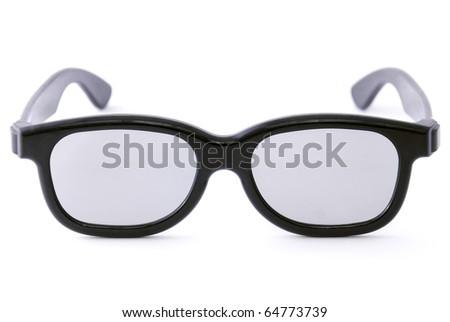 black glasses isolated on white background - stock photo