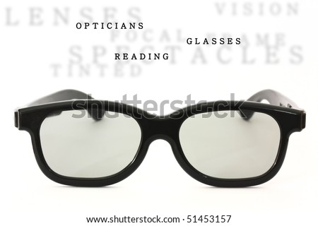 Black glasses isolated with sample text - stock photo