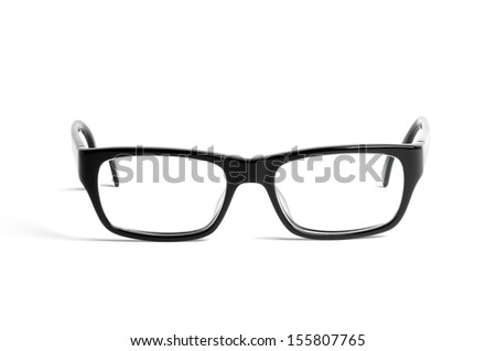 Black glasses on white.