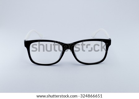 Black glasses to improve eyesight isolated on white background, object isolate