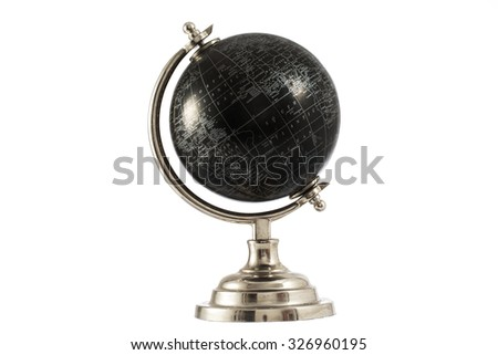 Black Globe isolated on white background - stock photo