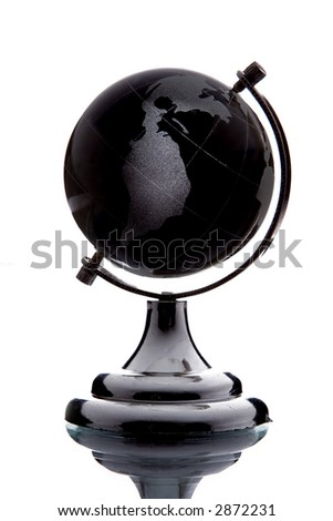 black globe with white continent over white background with reflection - stock photo