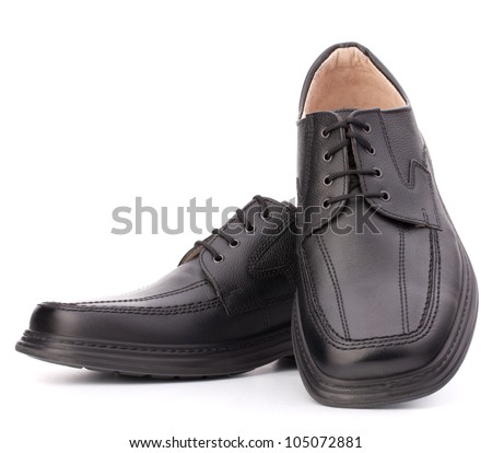 Black glossy man�s shoes with shoelaces isolated on white background - stock photo
