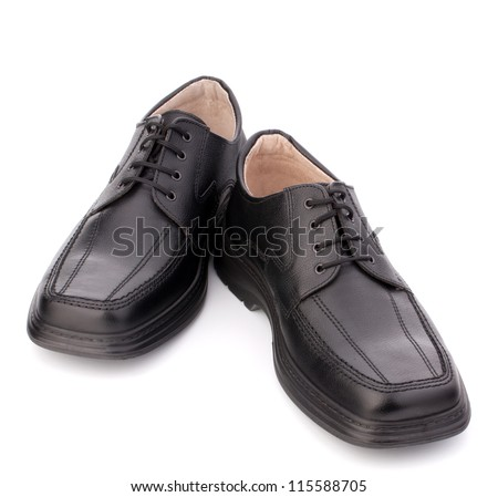 Black glossy man�¢??s shoes with shoelaces isolated on white background