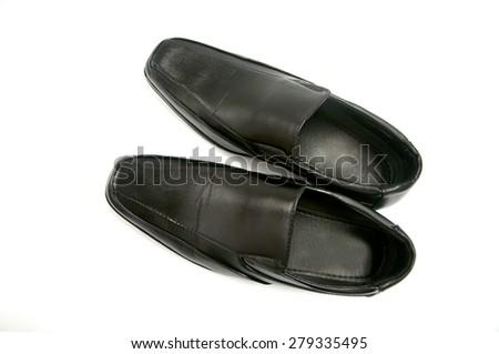 Black glossy man shoe isolated on white background - stock photo