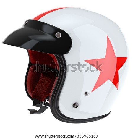 Black glossy protection for sports helmet. 3D graphic object on white background isolated