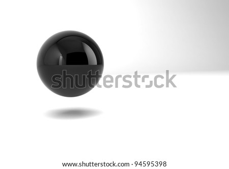 black glossy sphere isolated on white background - stock photo