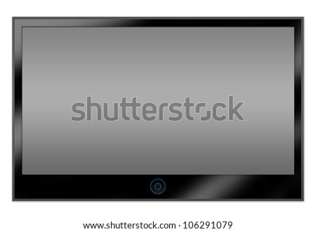 Black Glossy Style LCD Plasma TV Screen Hanging on a White Wall With Some Space for Text Message Isolated on White Background - stock photo