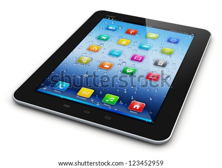 Black glossy tablet PC mobile computer with colorful icon interface isolated on white background - stock photo