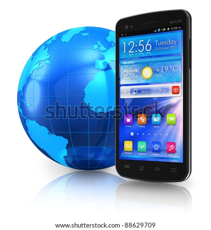 Black glossy touchscreen smartphone and blue Earth globe isolated on white reflective background - stock photo