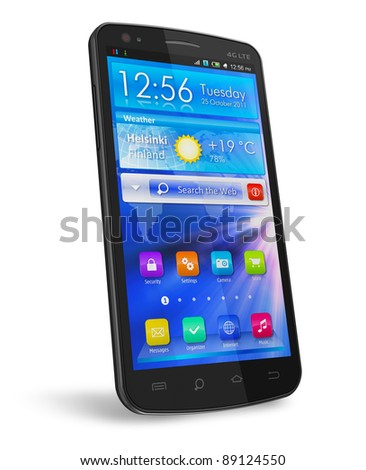 Black glossy touchscreen smartphone with blue interface isolated on white background - stock photo