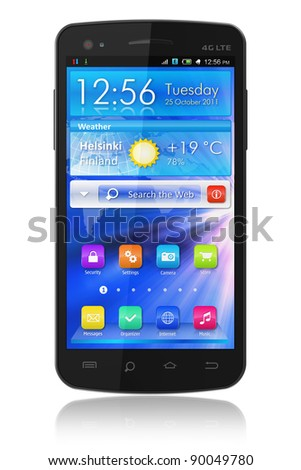 Black glossy touchscreen smartphone with blue interface isolated on white background