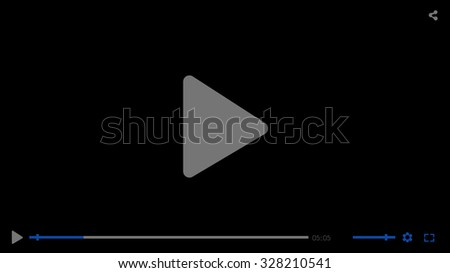 Black glossy video movie media player template on black background, illustration. Video player flat design template for web and mobile apps. Buttons, bar, screen, menu, tune slider. - stock photo