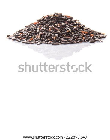 Black glutinous rice over white background