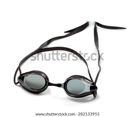 Black goggles for swimming isolated on white background - stock photo