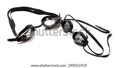 Black goggles for swimming. Isolated on white background with copy space - stock photo