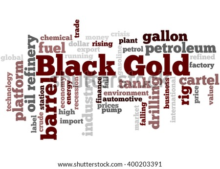 Black Gold, word cloud concept on white background.