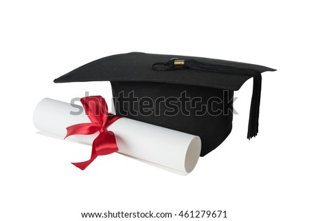 Black graduate hat and paper scroll tied with red ribbon with a bow, isolated on white background