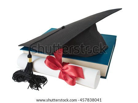 Black graduate hat, big blue book and paper scroll tied with red ribbon with a bow, isolated on white background