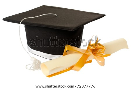 Black graduation hat next to a diploma tied with a ribbon, isolated on white.