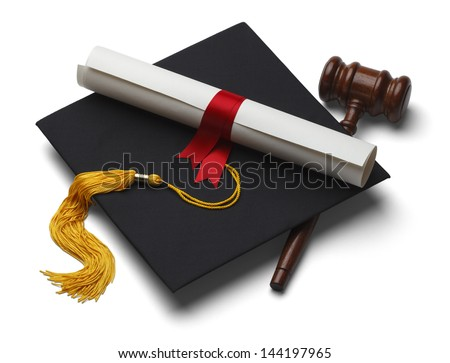 Black Graduation Hat with Degree and Gavel Isolated on White Background. - stock photo