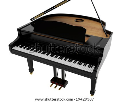 Black grand piano. High resolution image. 3d illustration.