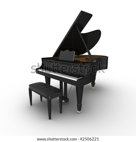 Black grand piano, isolated on a white background - stock photo