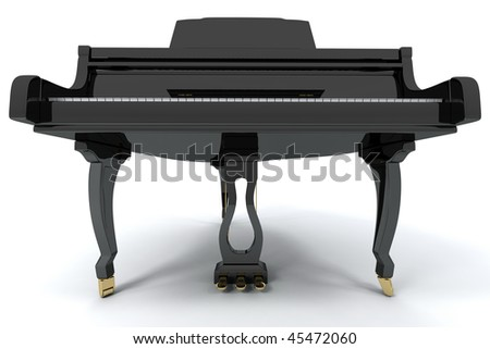Black grand piano isolated on light background