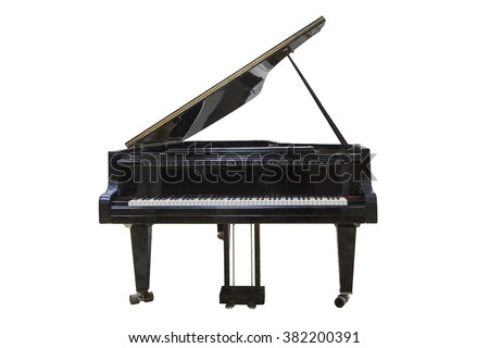 black Grand piano isolated on white background - stock photo