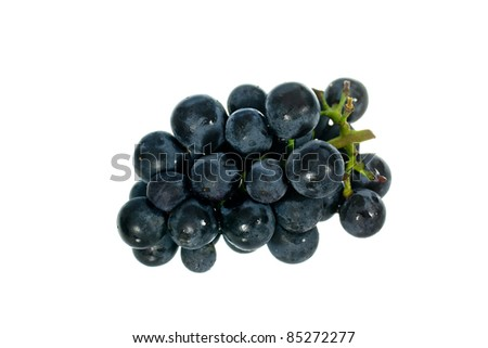 Black grape isolated on the white background - stock photo