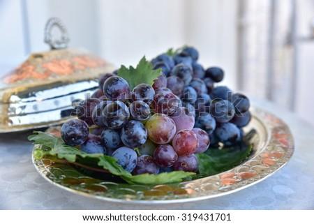 black grapes - stock photo