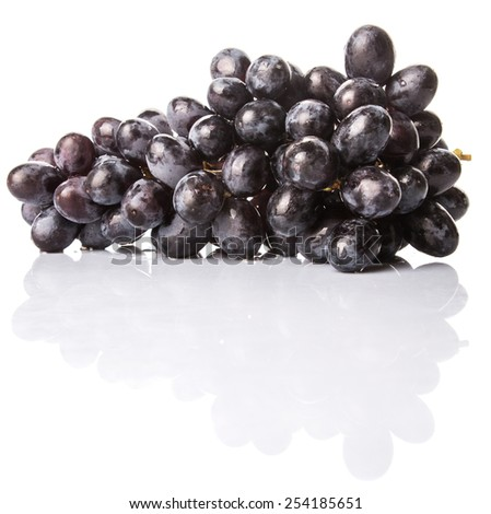 Black grapes over white background - stock photo