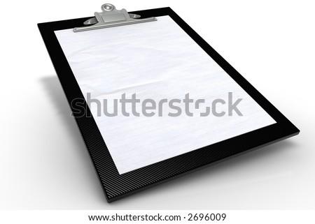 Black Graphite Clipboard with Paper - stock photo