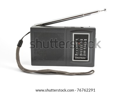 Black/gray portable radio on white background.