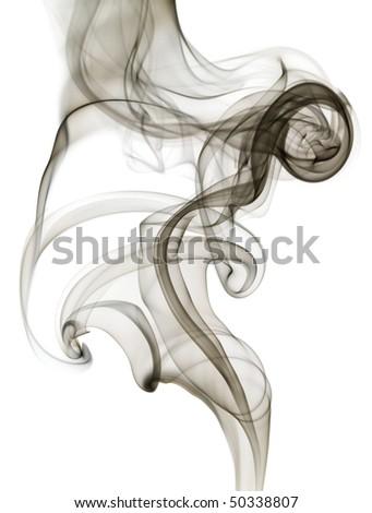 Black grey smoke curves on white background. - stock photo