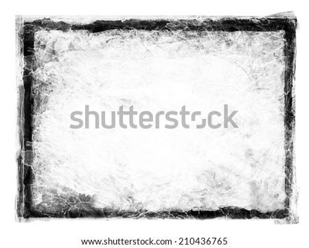 Black grunge dirty frame on white. - stock photo