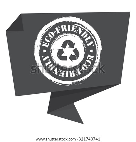 Black Grunge Eco-Friendly Paper Origami Speech Bubble or Speech Balloon Infographics Sticker, Label, Sign or Icon Isolated on White Background - stock photo