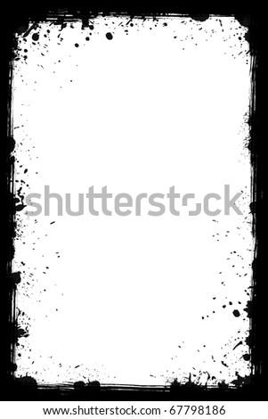 Black grunge frame isolated on the white background - stock photo