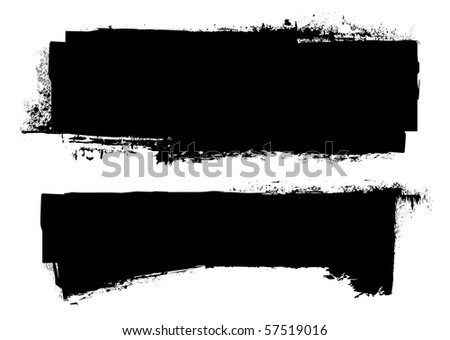 black grunge ink banner with paint roller effect - stock photo