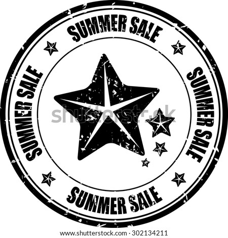 Black grunge rubber stamp with stars and the text summer sales written inside the stamp.  - stock photo