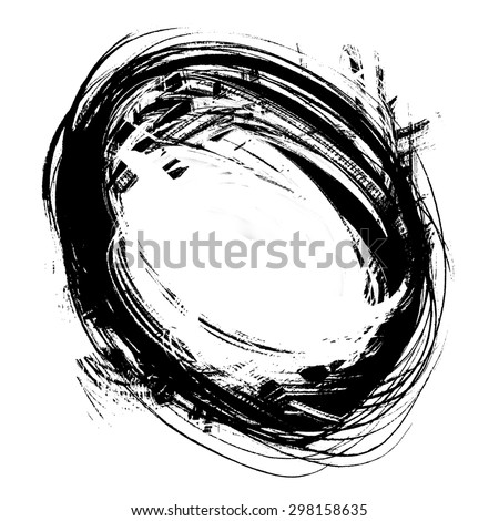 black grunge spot circular, isolated on white - stock photo
